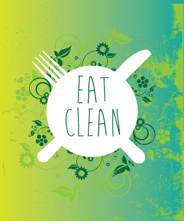 plate with eat clean message amongst grunge and floral design Illustration