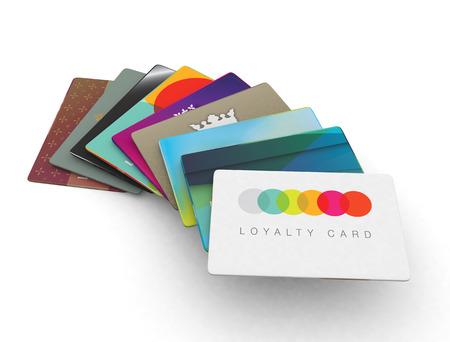 クレジット カードの忠誠心のスキーム カード 3 d のレンダリング