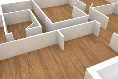 apartment building: wooden floors and white walls and doors, simple template Stock Photo