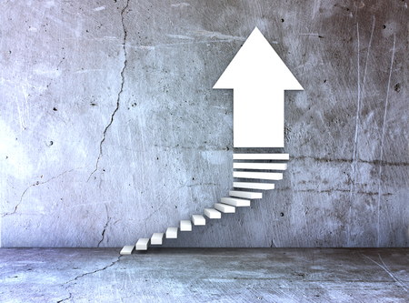 incremental: metaphor for business or growth as a steps and arrowon concrete background Stock Photo