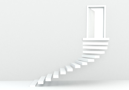 incremental: 3d render of white steps in white studio environment with white door and light Stock Photo