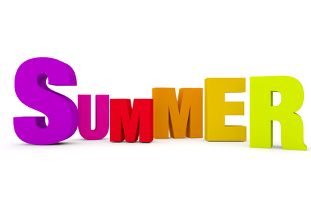 the word summer in 3d text on a white studio background with shadows on the floor
