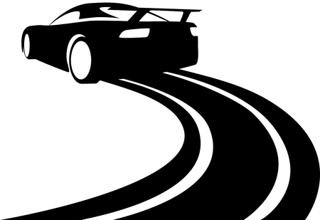 Vector illustration of a car sliding or drifting on a white background,