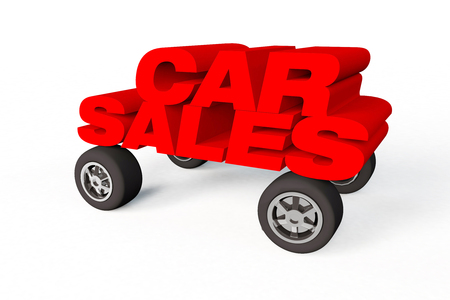 3D Render of the word car sales on a white background with wheels