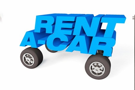 3D Render of the word rent - a car on a white background