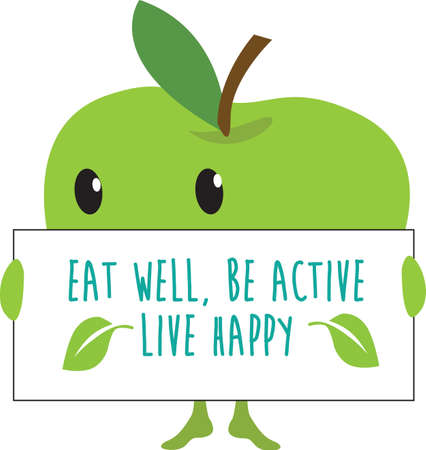 kawaii fruit cartoon fruit apple for web, internet or poster use as templates with the eat well, be active, live happy message Vektorgrafik