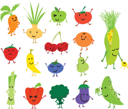 Cartoon vector kawaii cute and funny fruits and veg, characters isolated on white background  イラスト・ベクター素材