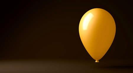 3d render illustration of a gold balloon floating on a black background Banco de Imagens