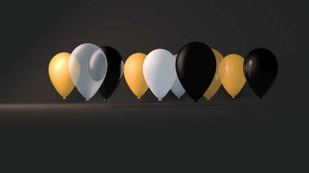 3d render illustration of gold balloons floating on a black background Banco de Imagens