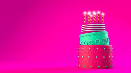 3d illustration render concept of a celebration cake idea on a pink background Banco de Imagens