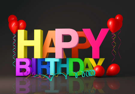 3d illustration render concept of a happy birthday message on a black background