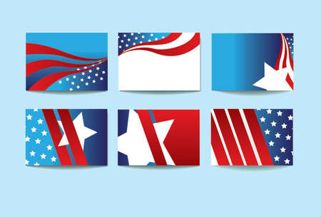 vector illustration of a set of background USA graphic elements for presentations Ilustração
