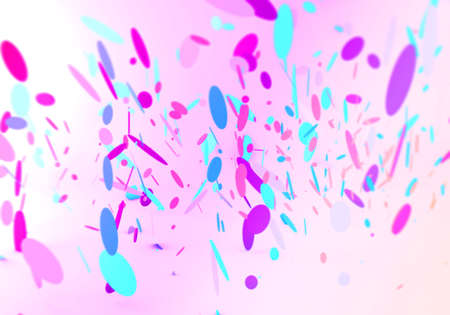 3d render of confetti in blue and pink falling down on a pink background Stock fotó