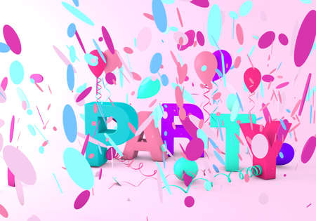 3d render of a party message with streamer, balloons and confetti
