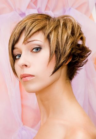 Glamourous model with nice hairstyle photo
