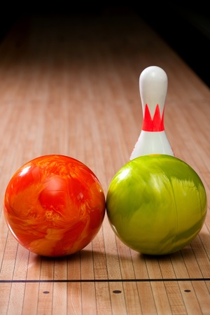 Bowling pins and balls photo