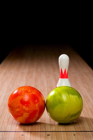 Bowling pins and balls Stock Photo - 13318584