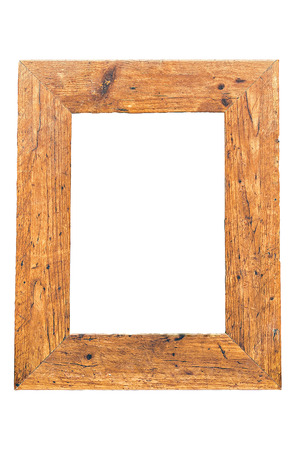 vintage style: Wooden vintage frame isolated on white background