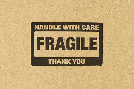 mailed: Close up of fragile on Brown paper
