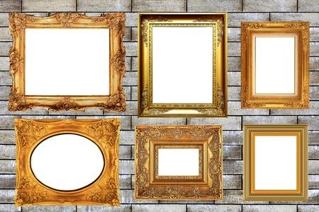 gold: Pack of vintage picture frame