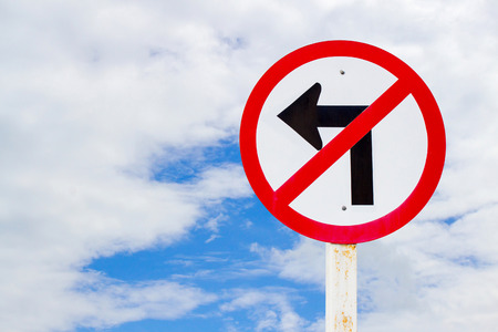 dissuade: No turn left traffic sign