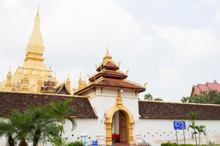 lao: Temple of Phra That Luang, Vientiane, Lao PDR Editorial