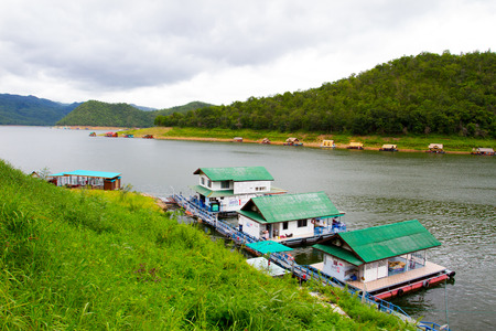house float on water: Kanchanaburi , Thailand - JULY 5,2015 : River view at The Forest Resort with raft house on River Kwai in Kanchanaburi, Thailand.