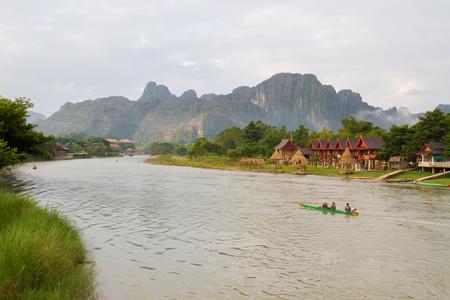 laotian: Nam Song river Vang Vieng, Lao P.D.R. Editorial