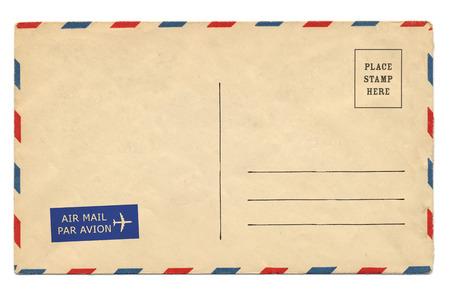 Indietro di una cartolina d'epoca in bianco