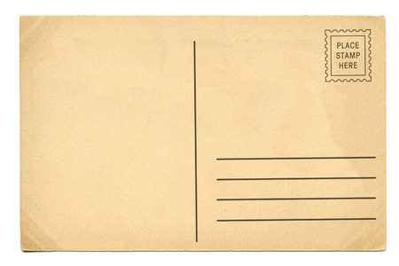Back of vintage blank postcard 스톡 콘텐츠