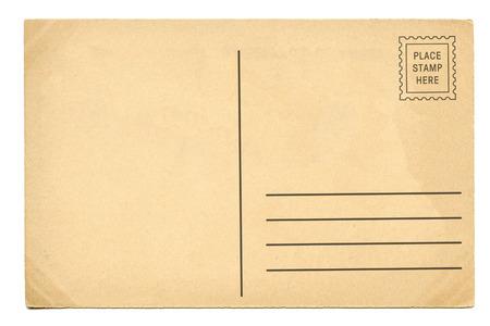 postcard: Detrás de la postal de época en blanco Foto de archivo