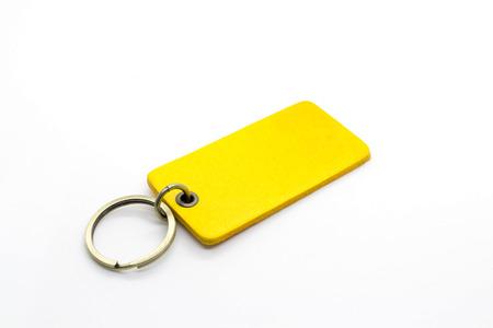 bibelot: Yellow leather Keychain