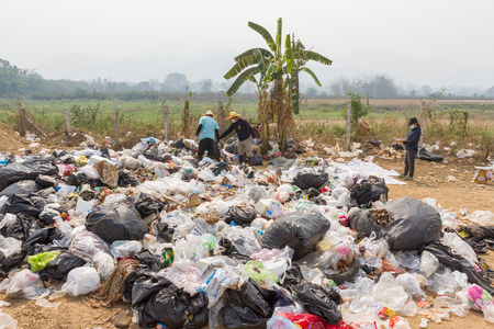 environmental sanitation: PAI, THAILAND - April 10, 2016 : the garbage disposal pond in Pai,Thailand, It is demonstration of environmental problems Editorial