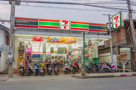 PAI, THAILAND - April 10, 2016 : 7-Eleven in the evening in PAI, 7-Eleven is convenience store with largest number of outlets in Thailand Redakční