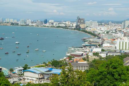 PATTAYA, THAILAND - 22 October 2016:View of building and Pattaya beach at viewpoint Pratumnak Hill in Pattaya, Thailand.