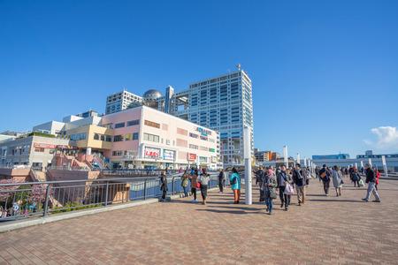 ODAIBA, TOKYO, JAPAN FEB 17: Aqua City Odaiba and Fuji TV Building at OdTokyo, Japan on 14 Feburary 2017. The famous tourist attraction point.