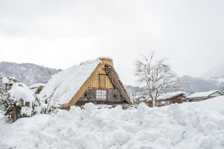 Ancient village in Shirakawago in Japan is a UNESCO World Heritage site. Its a famous place for sightseeing Stock Photo