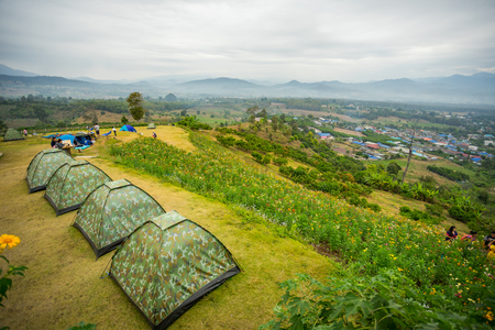 Camping tent on the mountain at Pai, Thailand Stock Photo