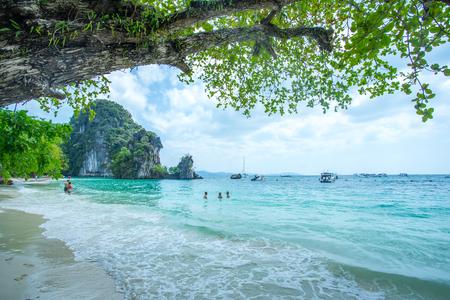 KRABI THAILAND 3 FEB 2018: Many people swimming and relaxing at Hong Island in Krabi Province Thailand. Phi Phi is part of Mu Ko Phi Phi National Park Editorial