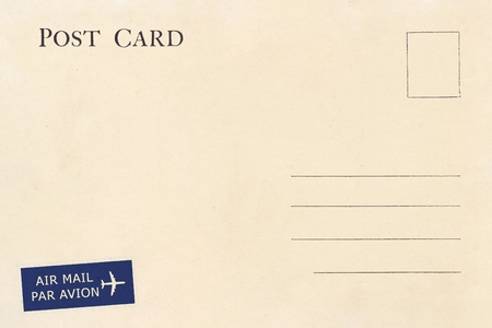 Parte posterior de la postal en blanco vintage con mancha sucia
