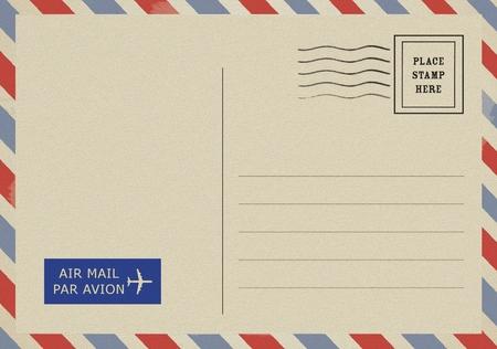 Rückseite der leeren Vintage-Postkarte Standard-Bild