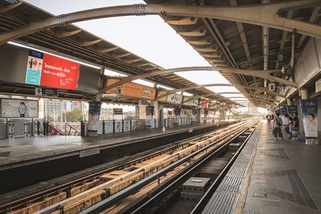 Bangkok Thailand - 27 April 2019: Platform of BTS SkyTrain national stadium station near MBK shopping center before the sunset