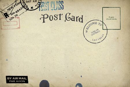 Backside of postcard with dirty stain
