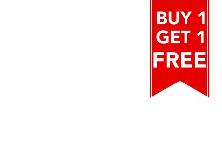 Buy one get one free promotional sale label for business with space for text Stok Fotoğraf