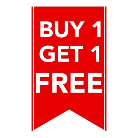 Buy one get one free, promotional sale label for business Stok Fotoğraf