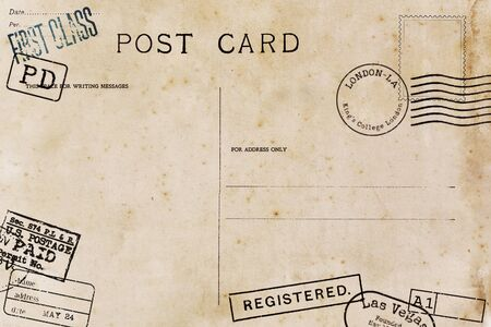Backside of blank airmail postcard with dirty stain Stock Photo