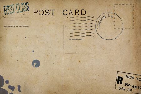 Backside of blank postcard with dirty stain