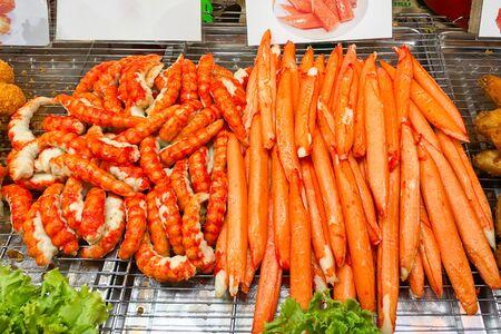 Shrimp sticks and crab sticks ready to eat in the food market Banco de Imagens - 133017796