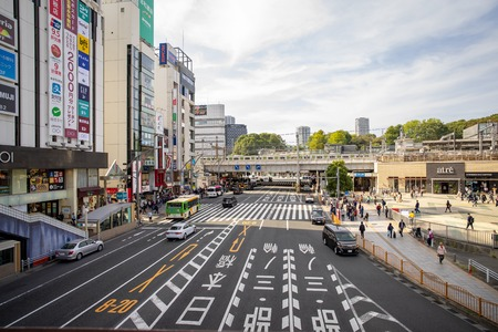 Tokyo Japan - 2 Nov 2019:  Traffic in front of Ueno Station in the morning in tokyo Japan major railway station in Tokyos Taito ward. It is the station used to reach the Ueno district. in Tokyo Japan Redakční