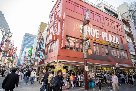 Tokyo Japan - 2 Nov 2019:  Many people shopping in the Ameyoko market area, This place is travel attraction for tourist in Tokyo Japan